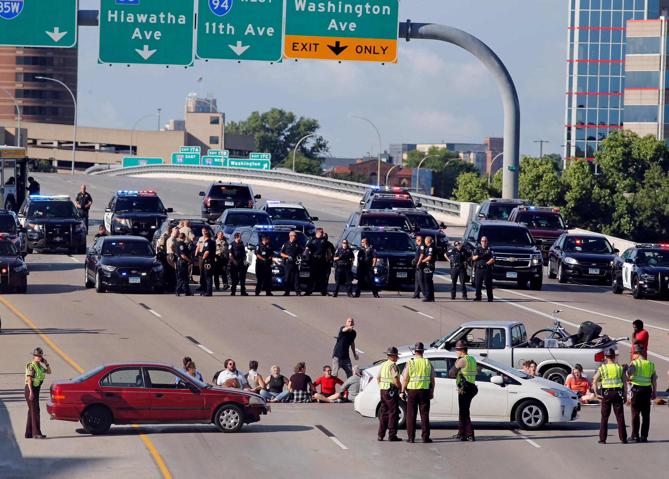 blocked freeway